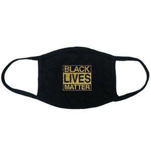 Black lives matter face mask washable gold black